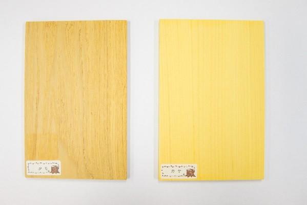 タモとカヤの色比較